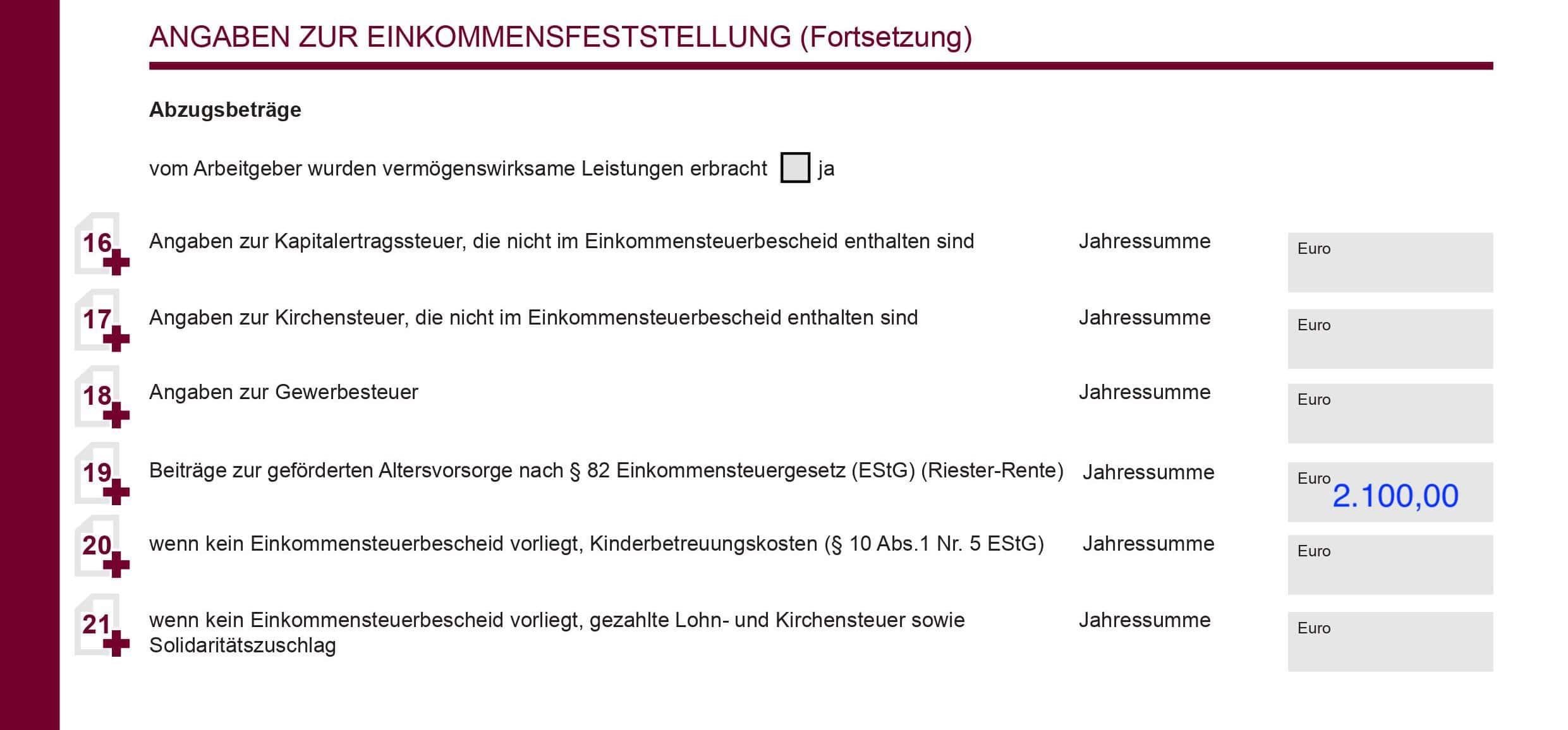 Riester-Rente wo in BAföG-Antrag eintragen Eltern