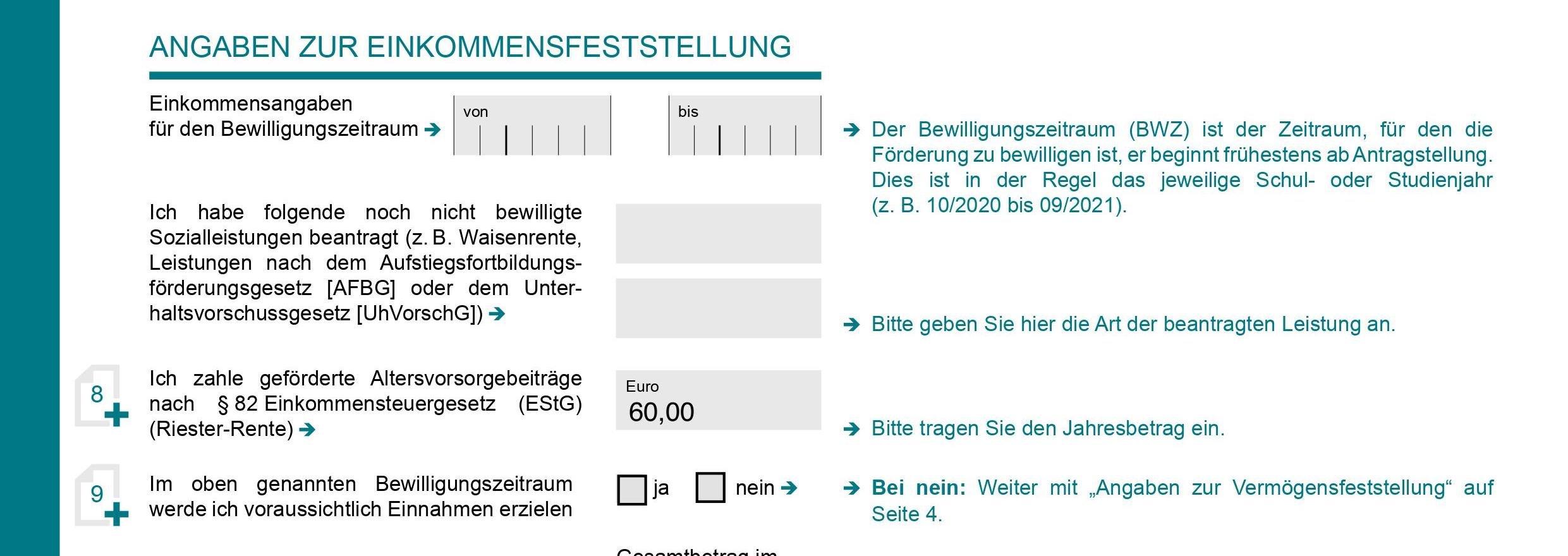 Riester-Rente in BAföG Antrag wo eintragen Student