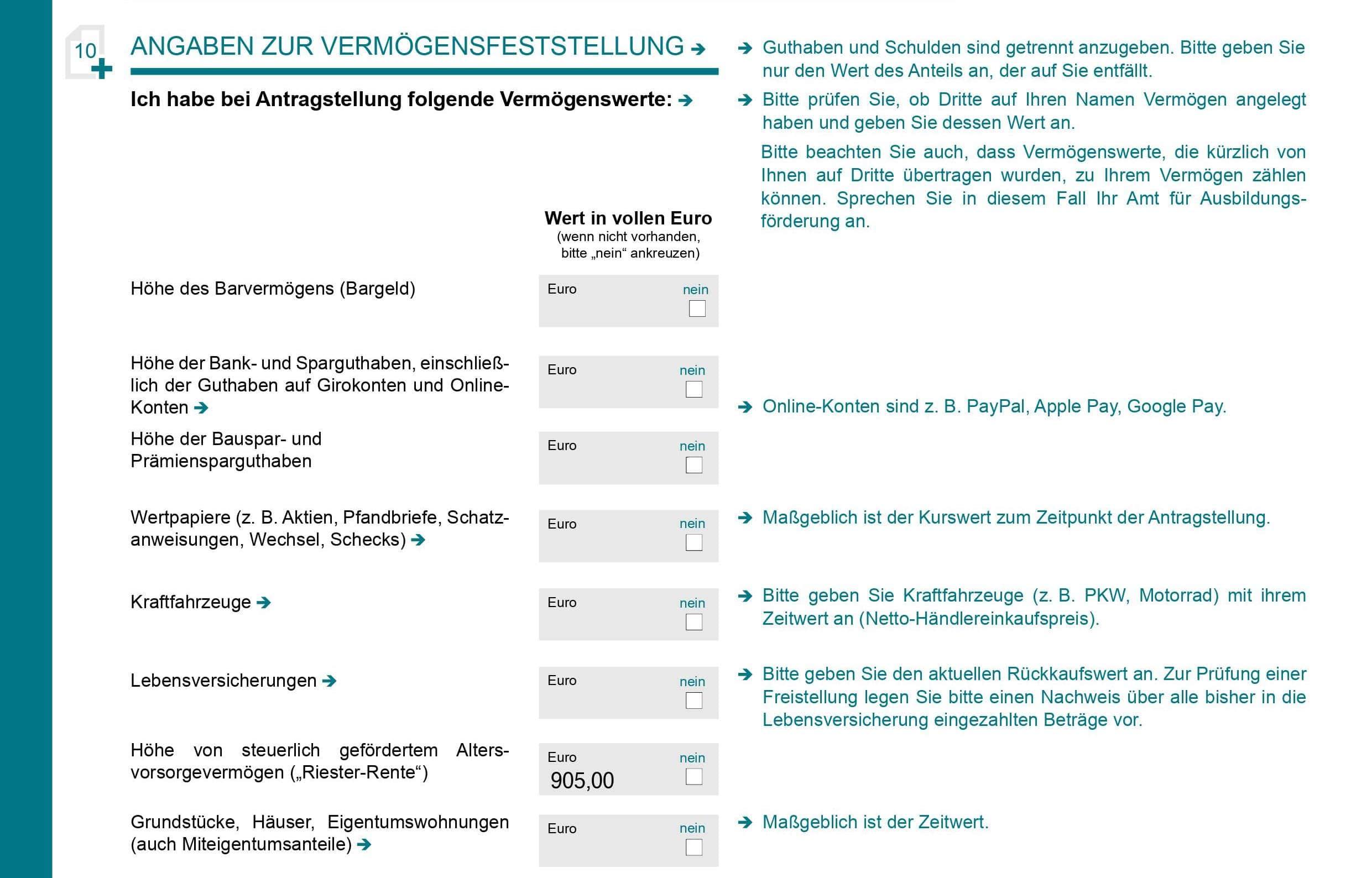 Riester-Rente in BAföG-Antrag wo eintragen Student