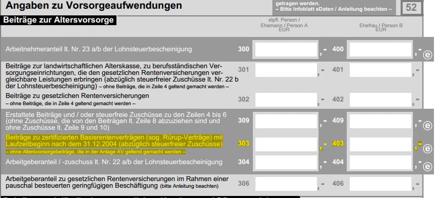 """Ausschnitt aus der Anlage für Vorsorgeaufwendungen bei der Steuererklärung. Zeile 303 - """"Beiträge zu zertifizierten Basisrentenverträgen"""" - ist gelb markiert."""